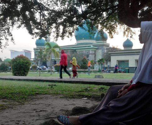 Olahraga Sore di Masjid Agung An-Nur Pekanbaru, seru kali ya…