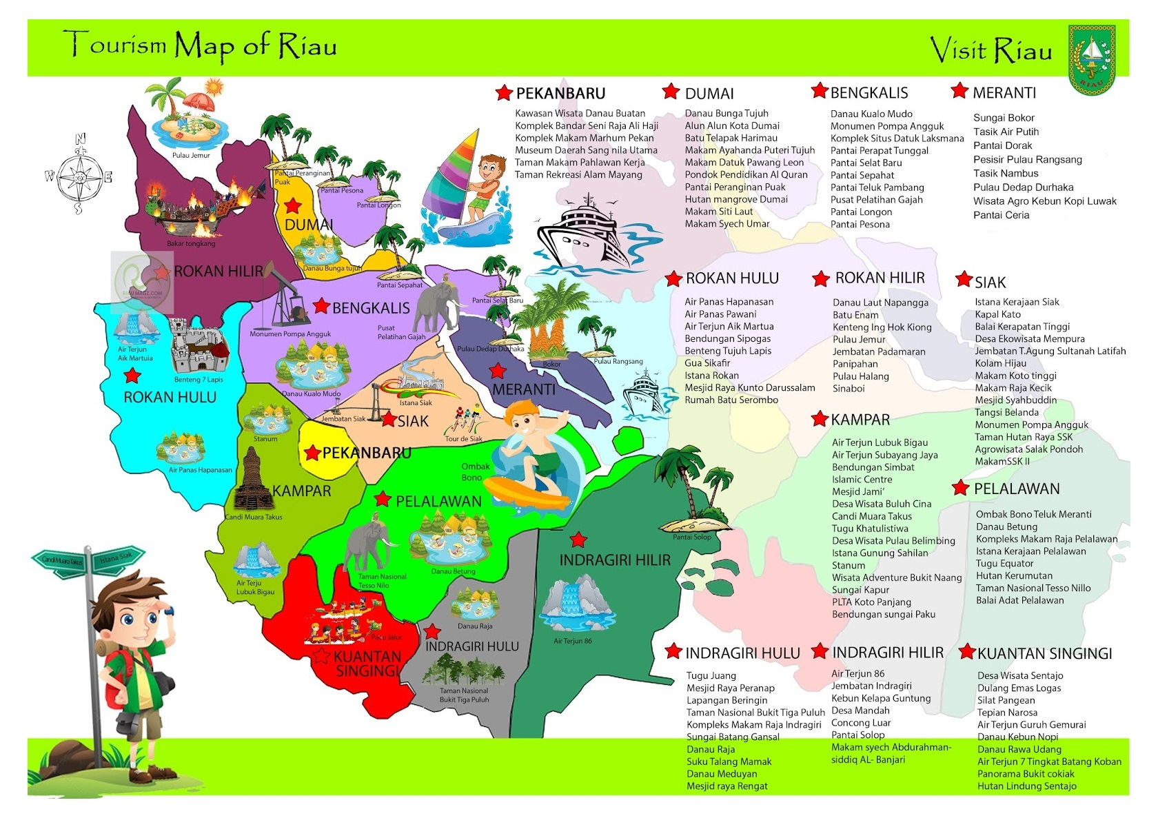 Download Peta Tempat Wisata di Riau (Pekanbaru dan Semua ...